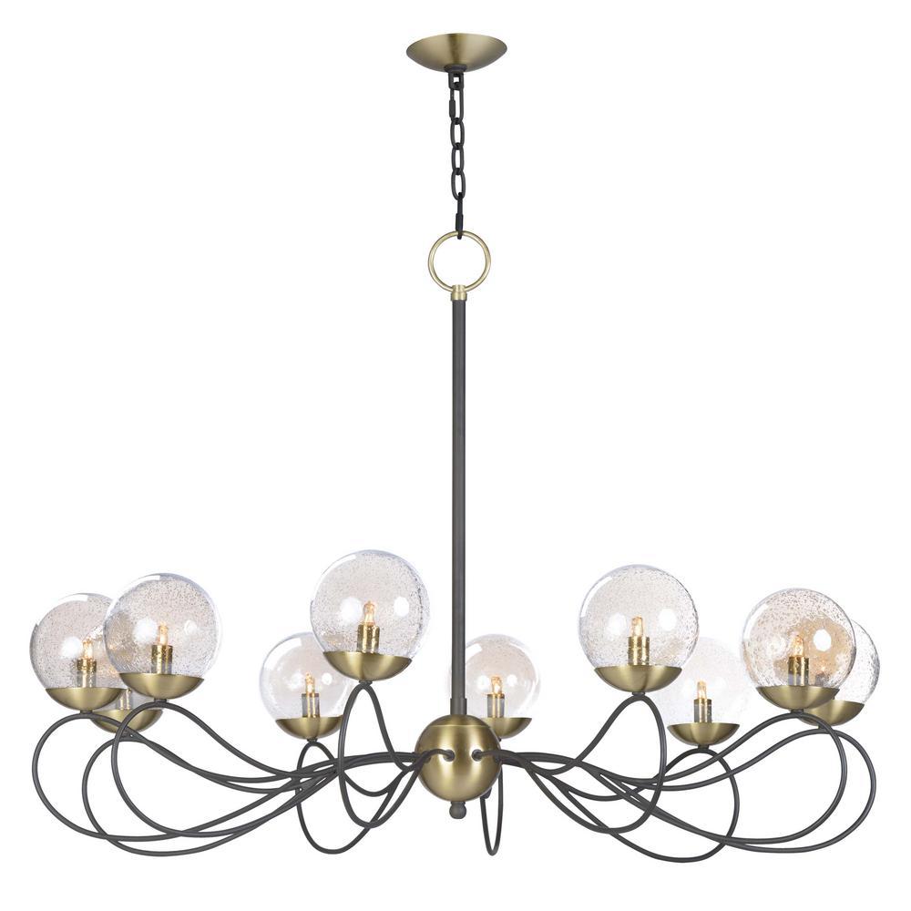 Maxim Lighting Reverb 38 in. W 10-Light Textured Bronze/Satin Brass Chandelier with Topaz Bubble Glass Shade