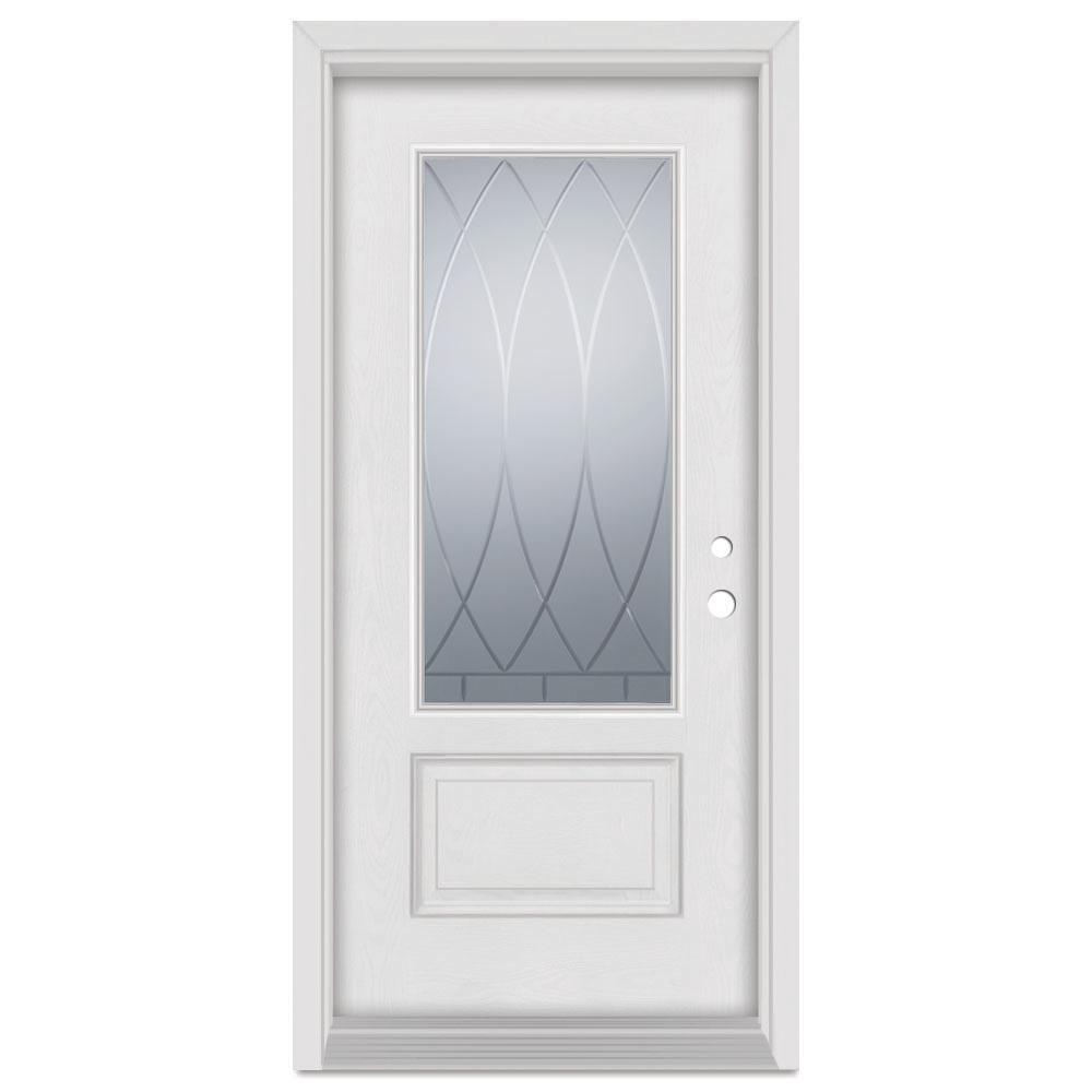 Stanley Doors 37.375 in. x 83 in. V-Groove Left-Hand 3/4 Lite Finished Fiberglass Mahogany Woodgrain Prehung Front Door Brickmould