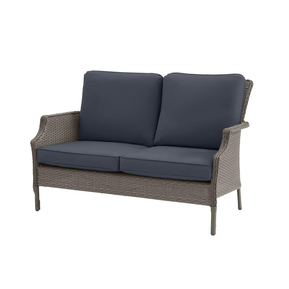Hampton Bay Grayson Ash Gray Wicker Outdoor Patio Loveseat with CushionGuard Sky Blue Cushions was $249.0 now $199.2 (20.0% off)