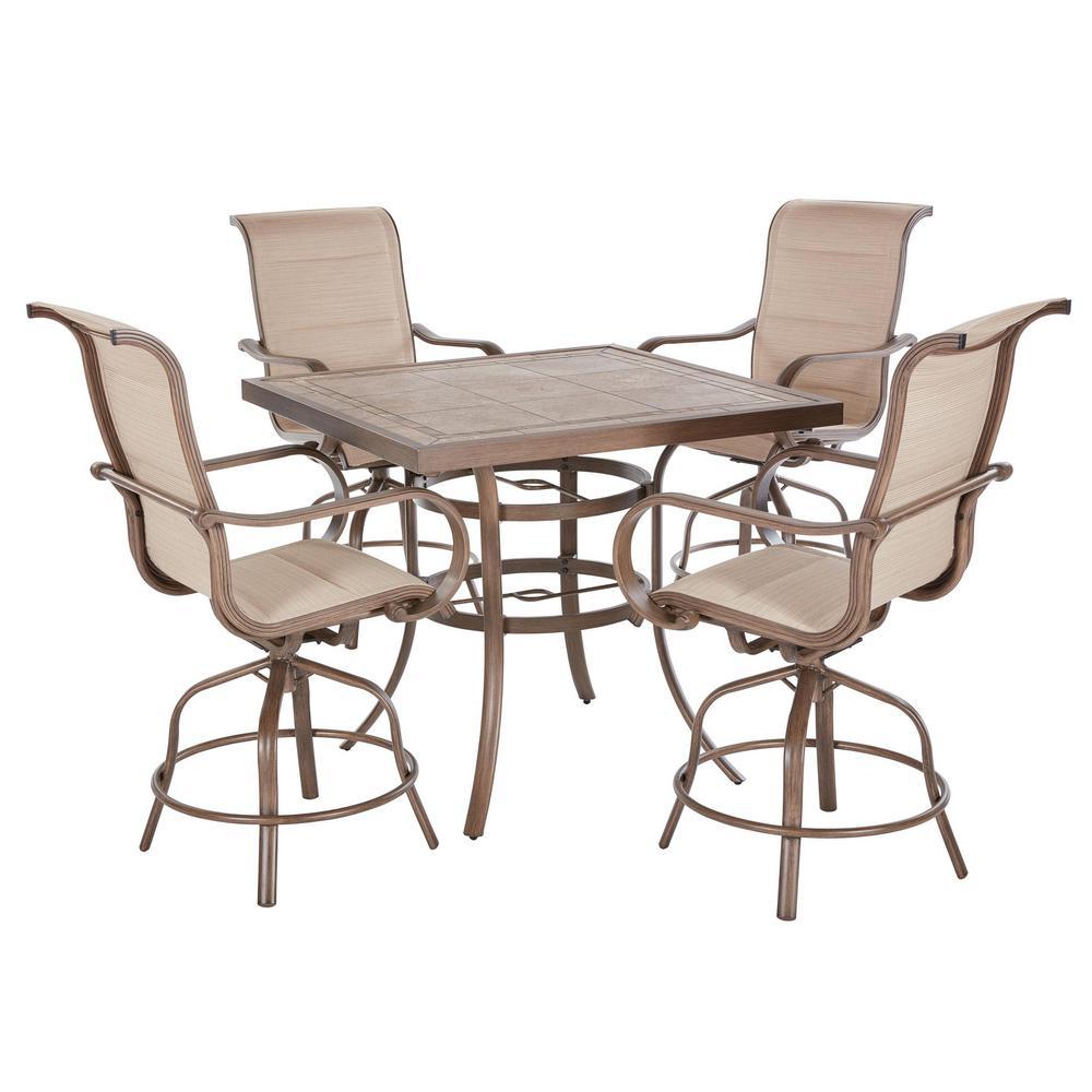 Details about outdoor bar height dining set aluminum 5 piece sunbrella sling patio furniture