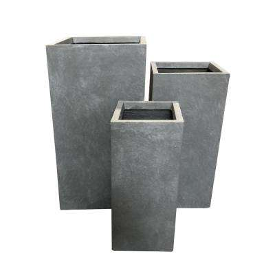Lightweight Concrete Tall Light Grey Planter (Set of 3)