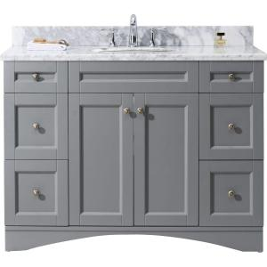 Virtu USA Elise 48 inch W x 22 inch D Vanity in Grey with Marble Vanity Top in White with White Basin by Virtu USA