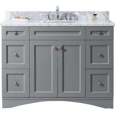 Elise 48 in. W x 22 in. D Vanity in Grey with Marble Vanity Top in White with White Basin
