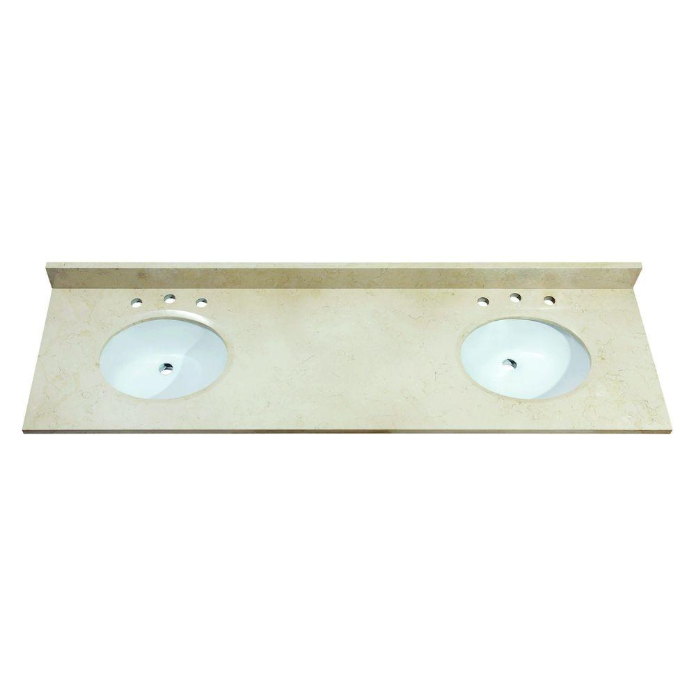 61 in. Marble Vanity Top in Gala Beige without Basin