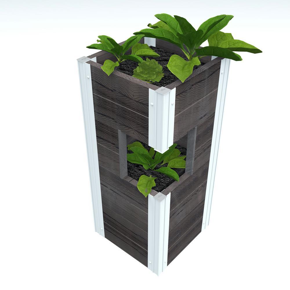 Urbana 13 in. x 13 in. x 30 in. Slate Grey Vinyl Pillar Planter