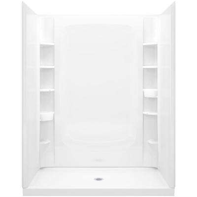 Store+ 34 in. x 60 in. x 75.75 in. Shower Kit in White with Backer Boards
