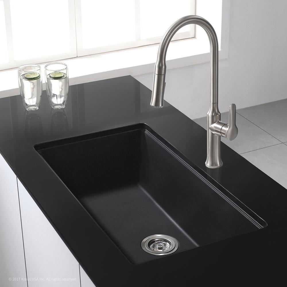 Undermount Granite Composite 32 in. Single Basin Kitchen Sink Kit in Black