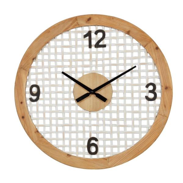 Natural and White Round Wood Wall Clock, 23.7''