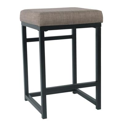Open Back Metal  24 in. Brown Bar Stool