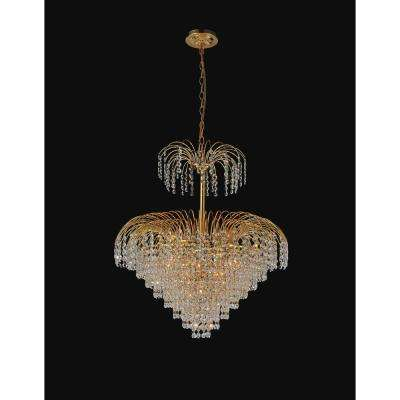 Palm Tree 11-light gold chandelier