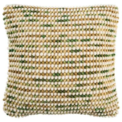 Field Green Geometric Down Alternative 20 in. x 20 in. Throw Pillow
