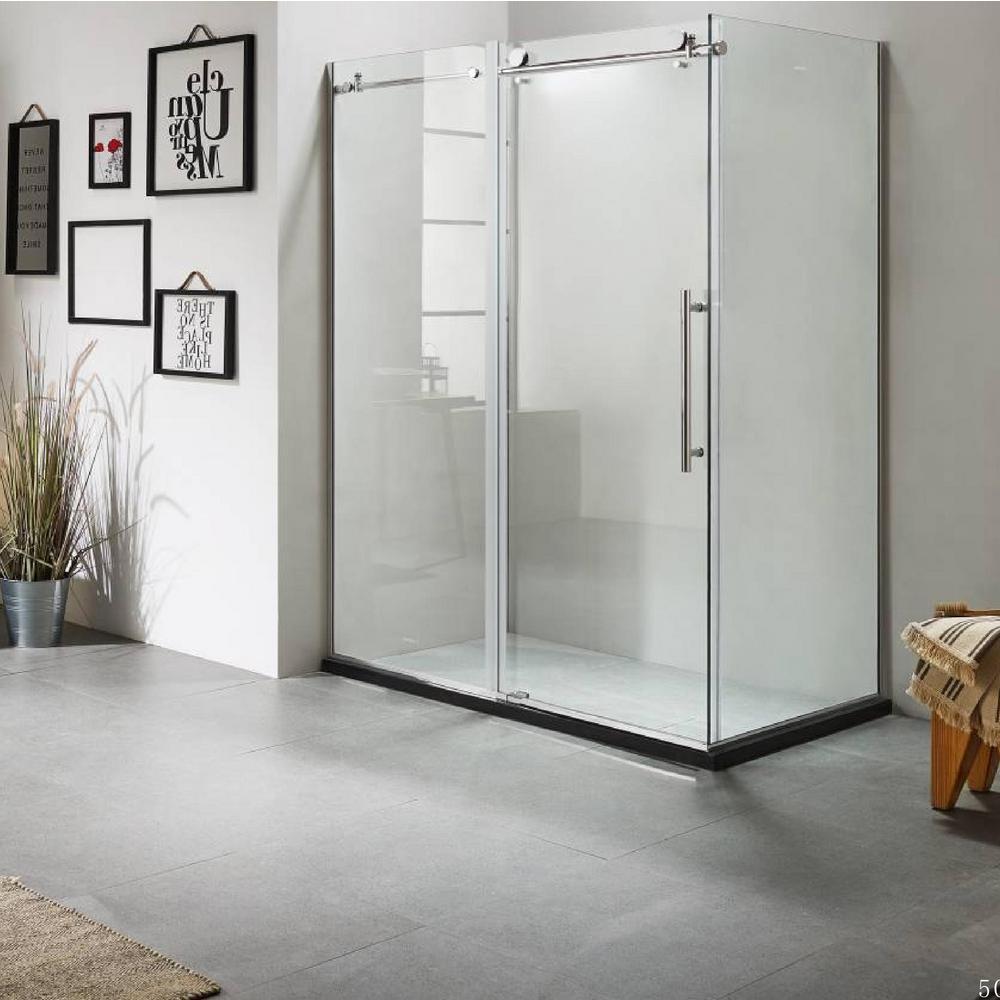 60 in. x 79 in. x 36 in. Luxury Frameless Sliding Shower Door Kit in Stainless Steel