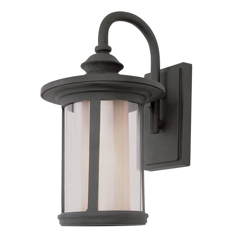 Bel Air Lighting Cabernet Collection Black Outdoor Coach Lantern with Clear Outer Tea Stain Inner Glass Shade