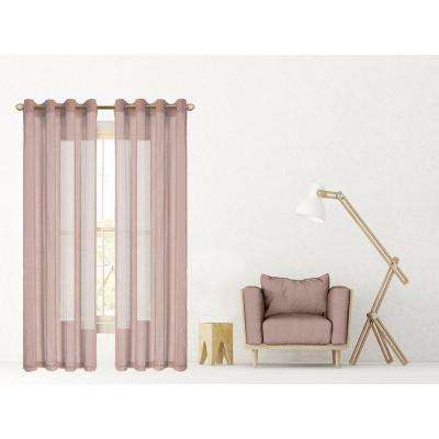 Malibu 55 in. W x 84 in. L Extra Wide Semi-Sheer Window Panel Pair in Blush (2-Pack)