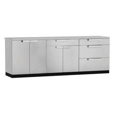 Stainless Steel Classic 4-Piece 97x36x24 in. Outdoor Kitchen Cabinet Set