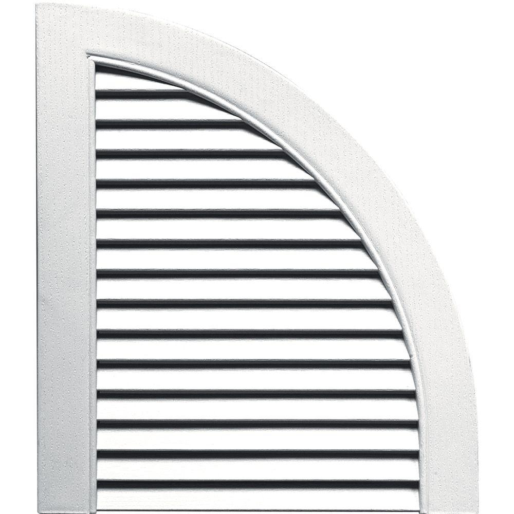 Builders Edge 15 in. x 17 in. Louvered Design Bright White Quarter Round Tops Pair #117