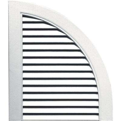 15 in. x 17 in. Louvered Design Bright White Quarter Round Tops Pair #117