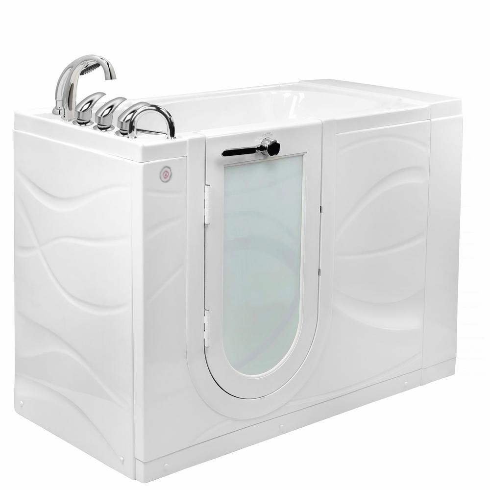 Chi 52 in. Walk-In MicroBubble Air Bath Bathtub in White W/ LHS Outward Swing Door, Heated Seat, Faucet, LHS Dual Drain