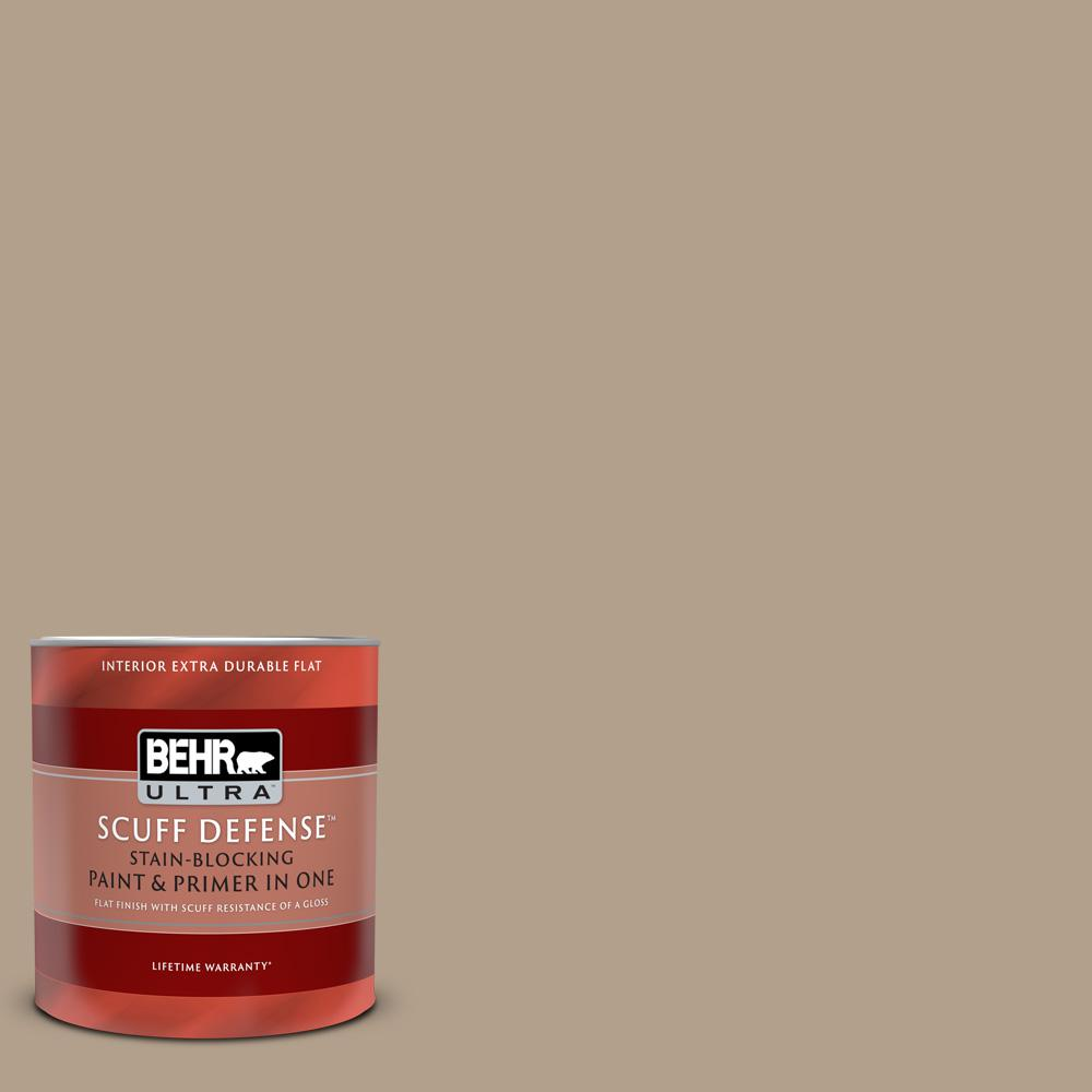 Behr Ultra 1 Qt Pwl 85 Stepping Stones Extra Durable Flat Interior Paint And Primer In One 172404 The Home Depot