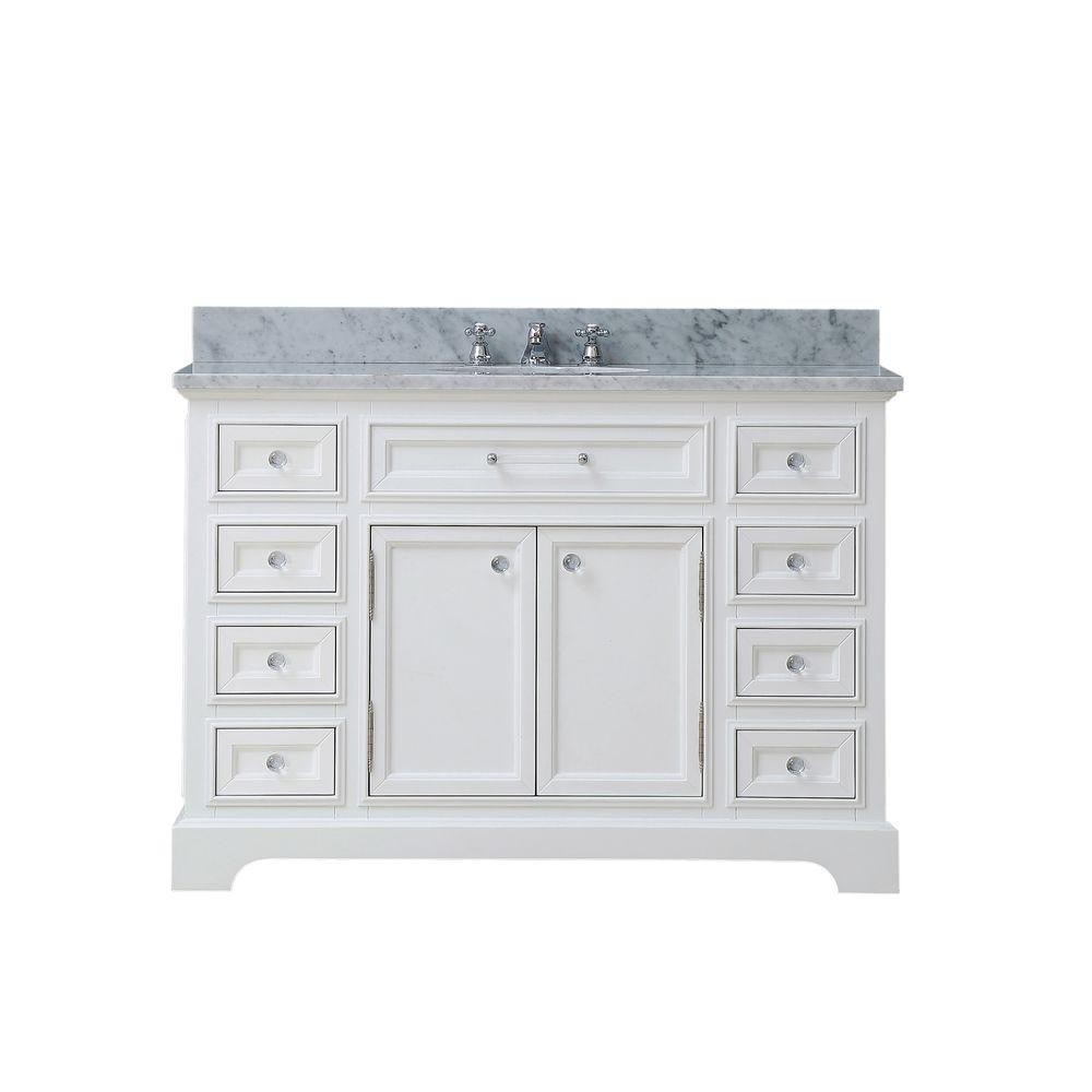 Water Creation 48 in. W x 22 in. D Bath Vanity in White with Marble Vanity Top in Carrara White and Chrome Faucet with White Basin