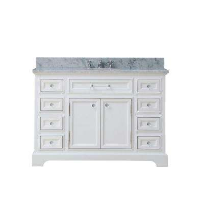 48 in. W x 22 in. D Bath Vanity in White with Marble Vanity Top in Carrara White and Chrome Faucet with White Basin