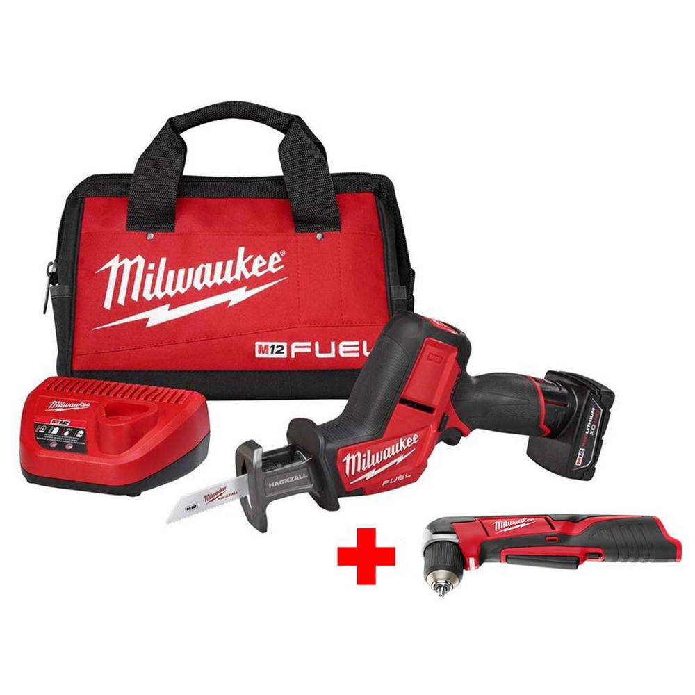 Milwaukee Milwaukee M12 FUEL 12-Volt Lithium-Ion Brushless Cordless HACKZALL Reciprocating Saw Kit w/ Free M12 3/8 in. Right Angle Drill