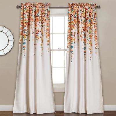 """Weeping Flowers Window Panel Set in Turquoise and 2"""" Header - 84"""" x 52"""" (2-Piece)"""