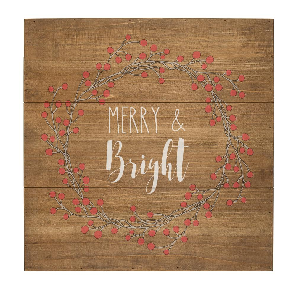 christmas merry and bright rustic wood sign