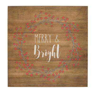 16 in. Christmas Merry and Bright Rustic Wood Sign
