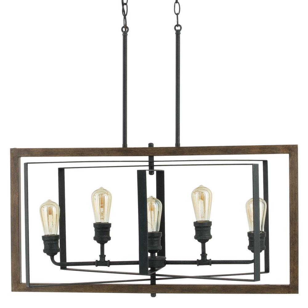 Home decorators collection palermo grove 31 88 in 5 light black gilded iron linear chandelier