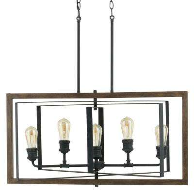 Palermo Grove Collection 5-Light Black Gilded Iron Linear Chandelier