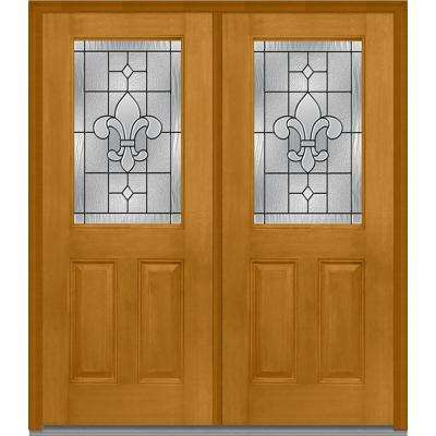 72 in. x 80 in. Carrollton Left-Hand Inswing 1/2-Lite Decorative 2-Panel Stained Fiberglass Mahogany Prehung Front Door