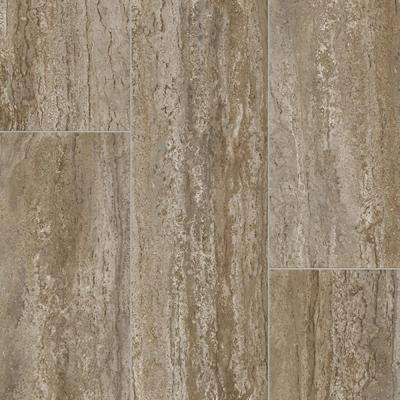 Rectangular Travertine Stone Neutral 13.2 ft. Wide x Your Choice Length Residential Vinyl Sheet Flooring