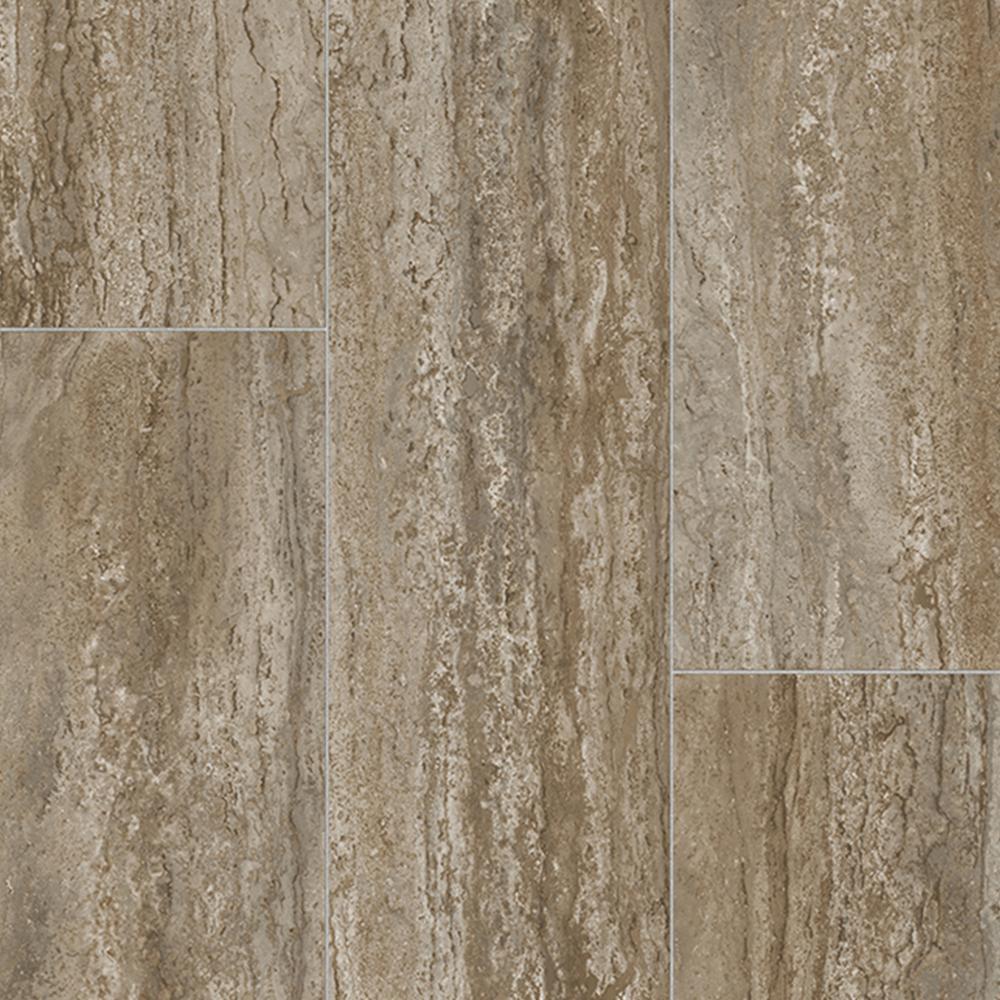 Rectangular Travertine Stone Neutral 13.2 ft. Wide x Your Choice Length Residential Vinyl Sheet Flooring