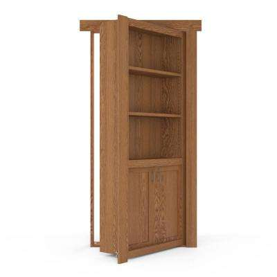 36 in. x 80 in. Flush Mount Assembled Laundry Door Oak Natural Stained Right-Hand Outswing
