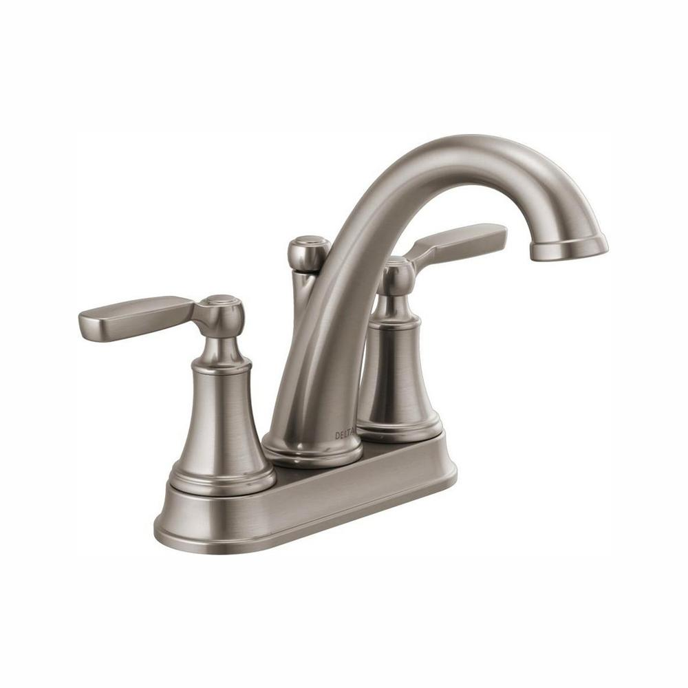 Delta Woodhurst 4 in. Centerset 2-Handle Bathroom Faucet in Stainless