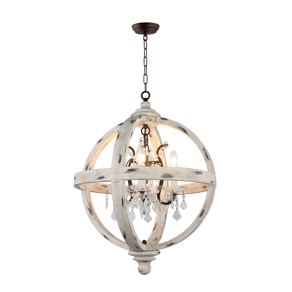 4 Light Withered White Wood Candle Style Globe Chandelier With Clear Gl Crystals