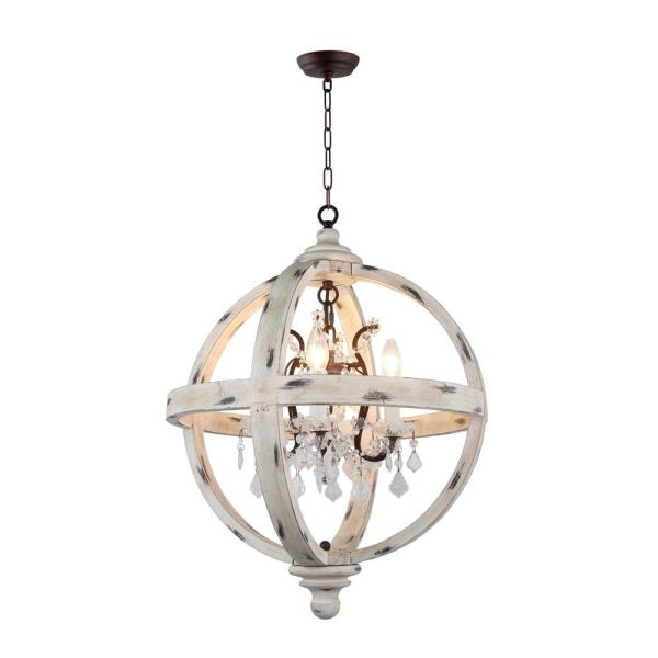 4-Light Withered White Wood Candle Style Globe Chandelier with Clear Glass Crystals