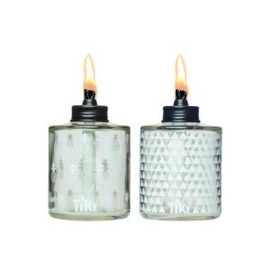 Painted Gl Table Torch White Pattern 2 Pack