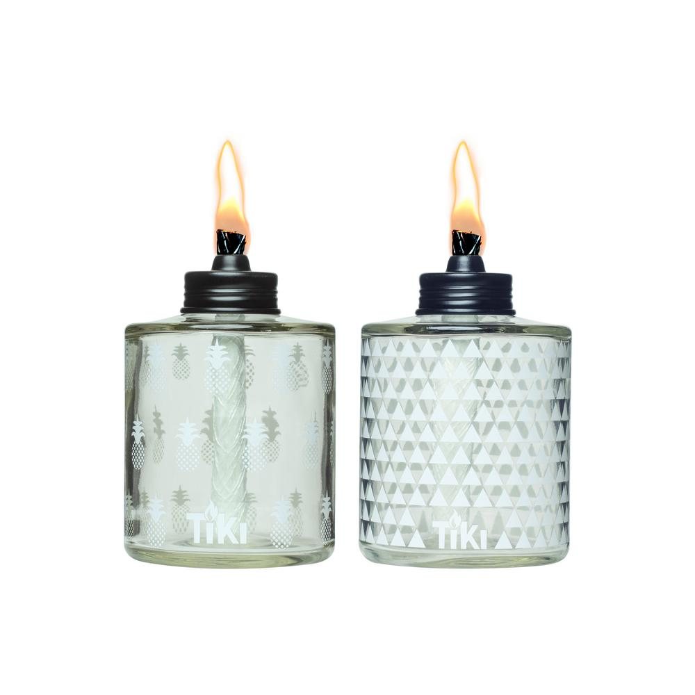 TIKI 5.5 In. Painted Glass Table Torch White Pattern (2 Pack)