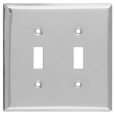 2 Toggle Wall Plate - Chrome