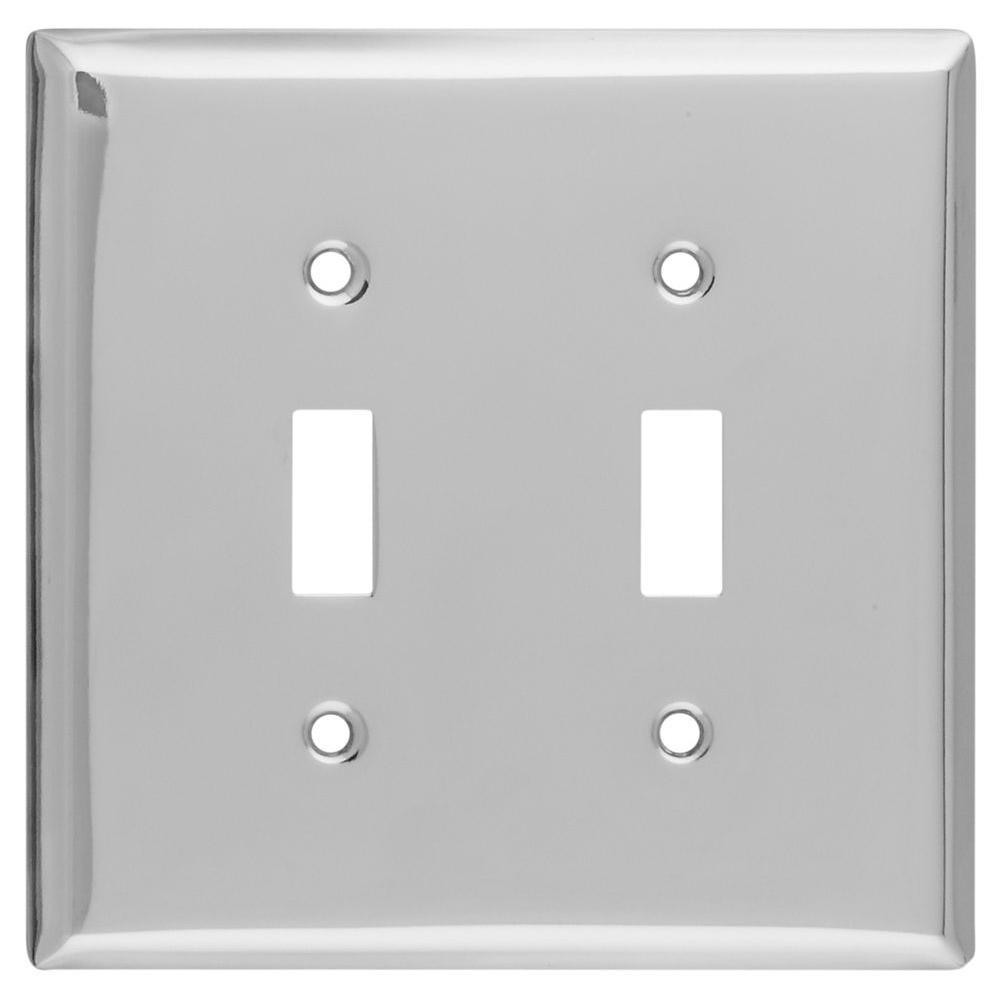 2 Toggle Wall Plate - Chrome