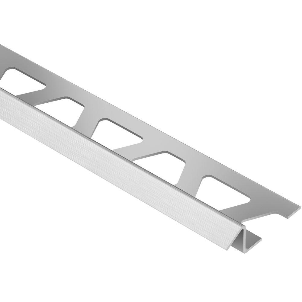 Schluter Reno-TK Brushed Stainless Steel 3/8 in. x 8 ft. 2-1/2 in. Metal Reducer Tile Edging Trim