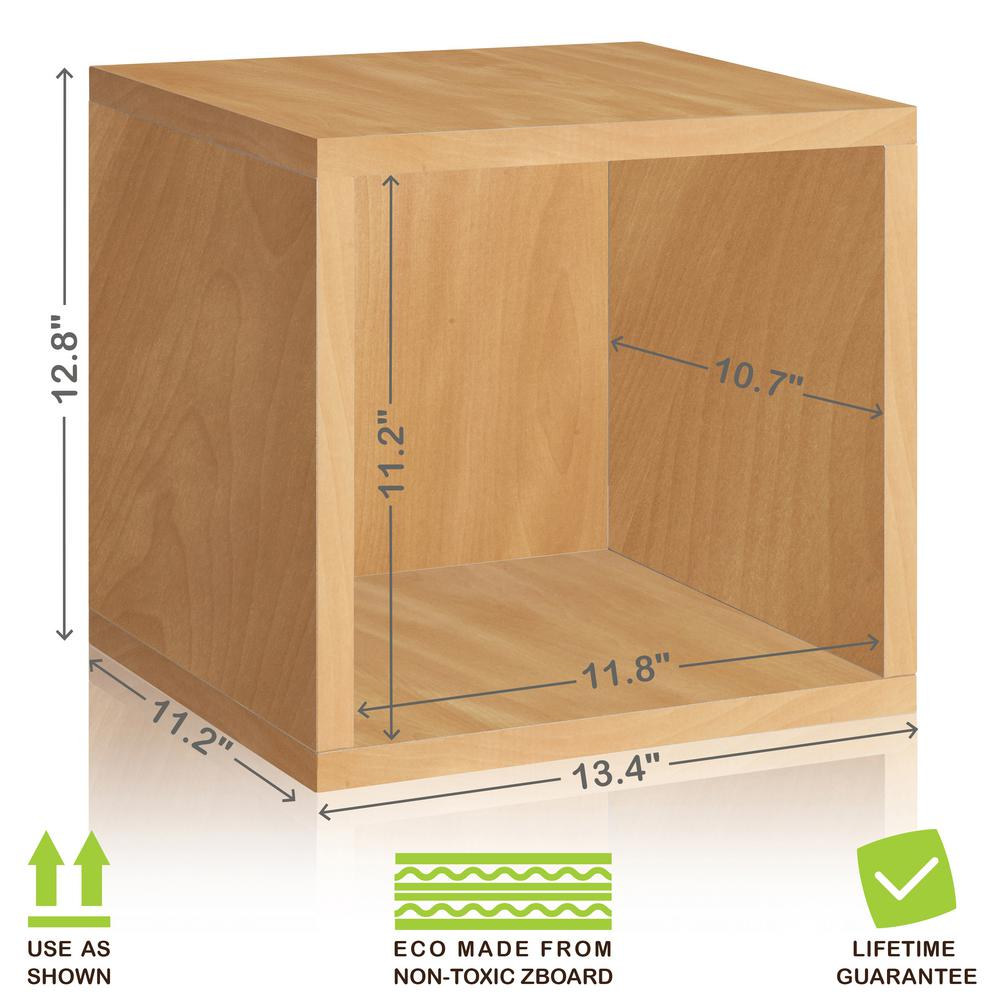 Way Basics Eco Stackable zBoard  11.2 x 13.4 x 12.8 Tool-Free Assembly Storage Cube Unit Organizer in Natural Wood Grain