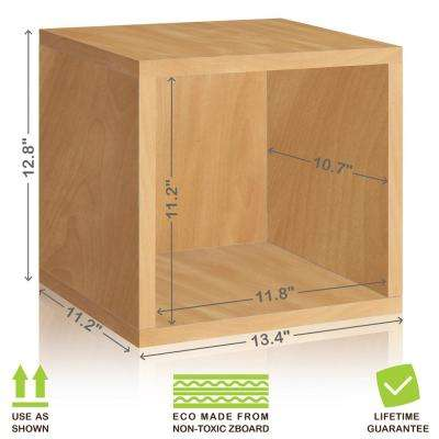 Eco Stackable zBoard 13.4 in. x 12.8 in. Tool-Free Assembly Storage 1-Cube Unit Organizer in Natural Wood Grain