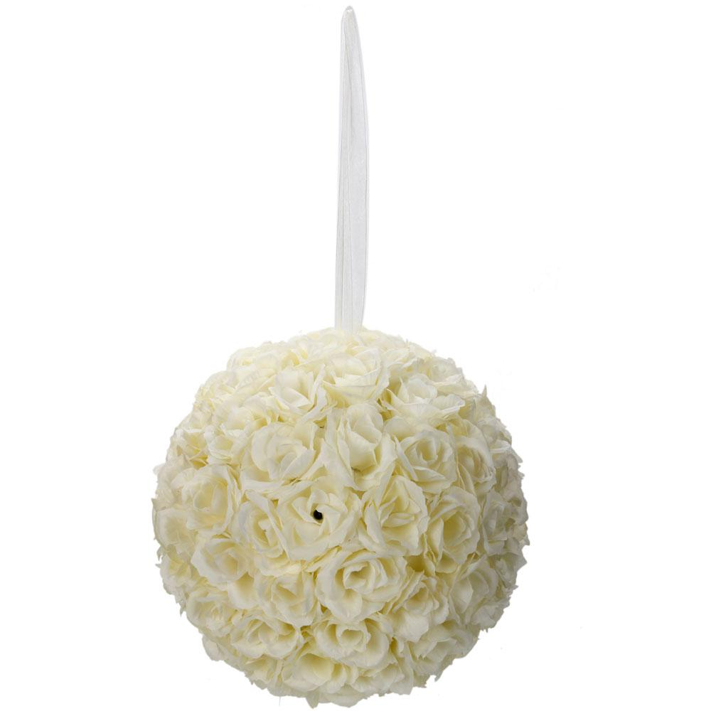 9.8 in. Ivory White Flower Ball Wedding Decoration-13009566 - The ...
