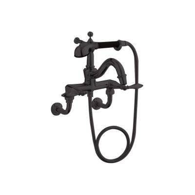 Finial Lever 2-Handle Claw Foot Tub Faucet with Hand Shower in Oil-Rubbed Bronze