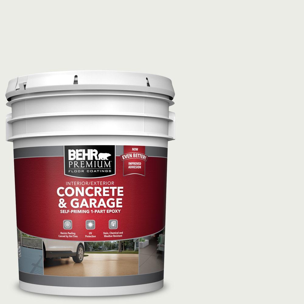 BEHR Premium 5 Gal. #52 White Self-Priming 1-Part Epoxy Satin Interior/Exterior Concrete and Garage Floor Paint