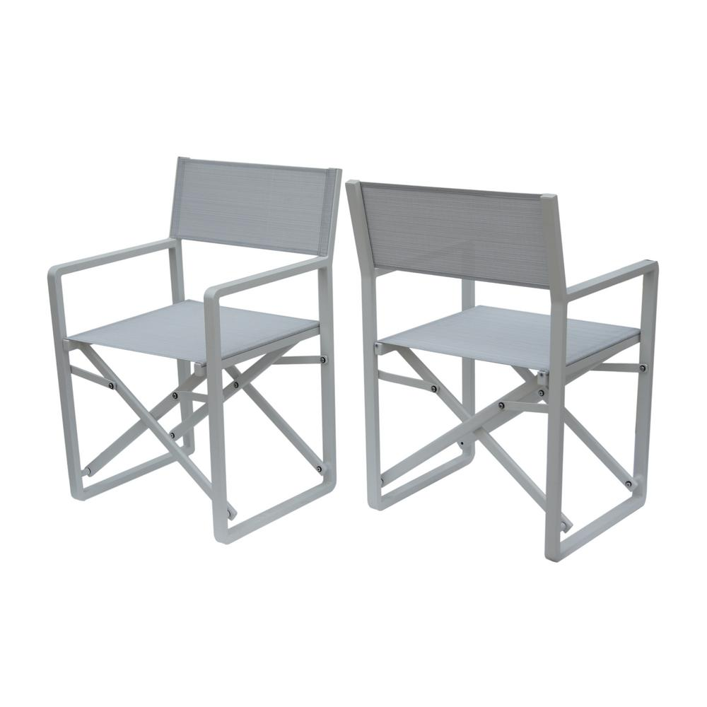 Cool Noble House Duncan White Aluminum And Mesh Indoor Director Chairs Set Of 2 Uwap Interior Chair Design Uwaporg