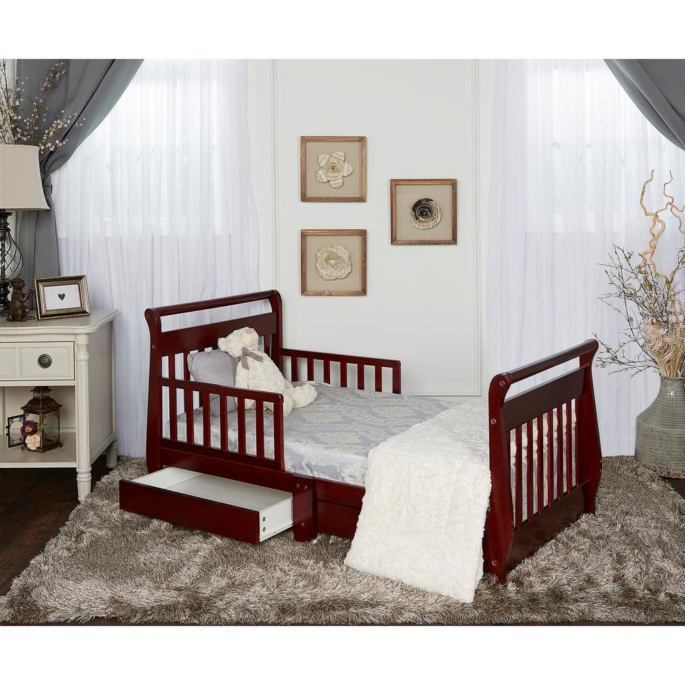 Dream On Me Cherry Toddler Adjustable Sleigh Bed With Storage Drawer